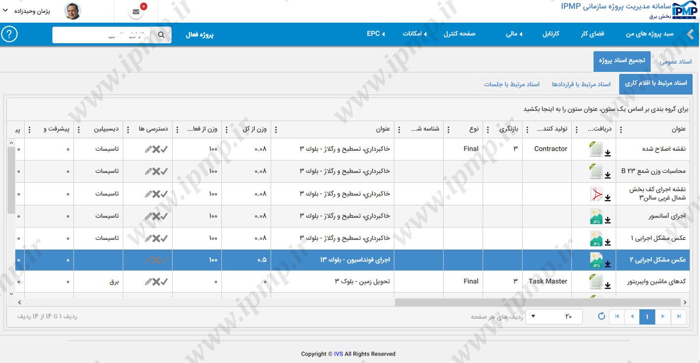 فضای مدیریت فایلها و مستندات پروژه